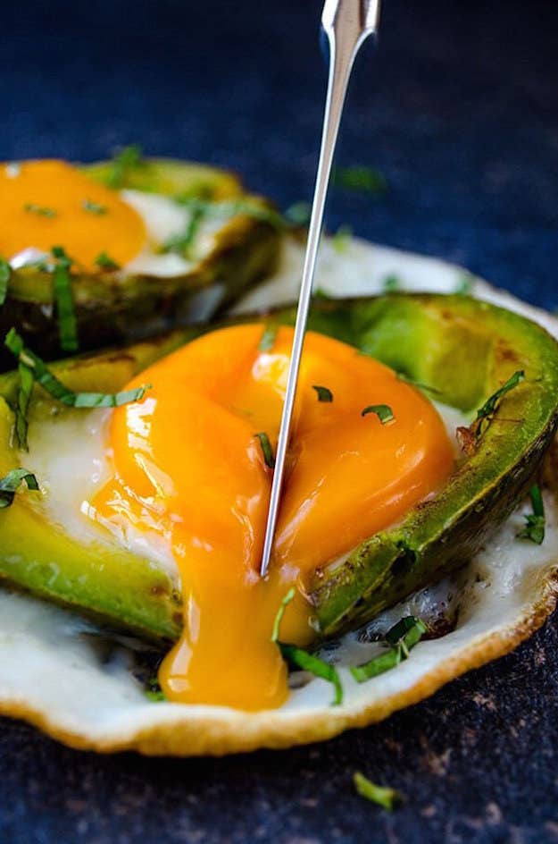 Eggs, avocado, and a drizzle of olive oil. Recipe here.