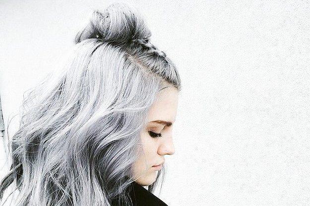 Chicas pelo corto gris