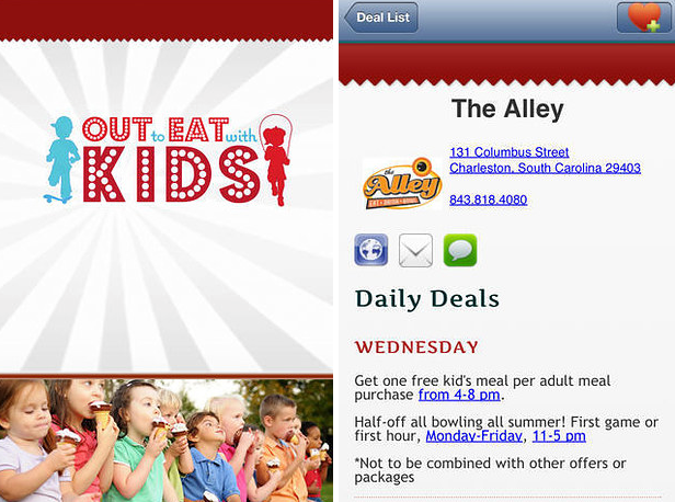 Find local restaurants where kids can eat for free with this app.