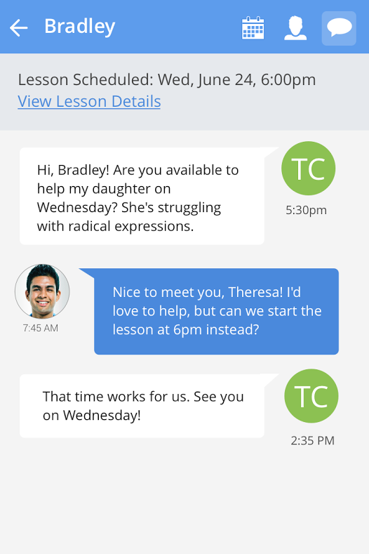 The messaging feature on WyzAnt's forthcoming app for parents
