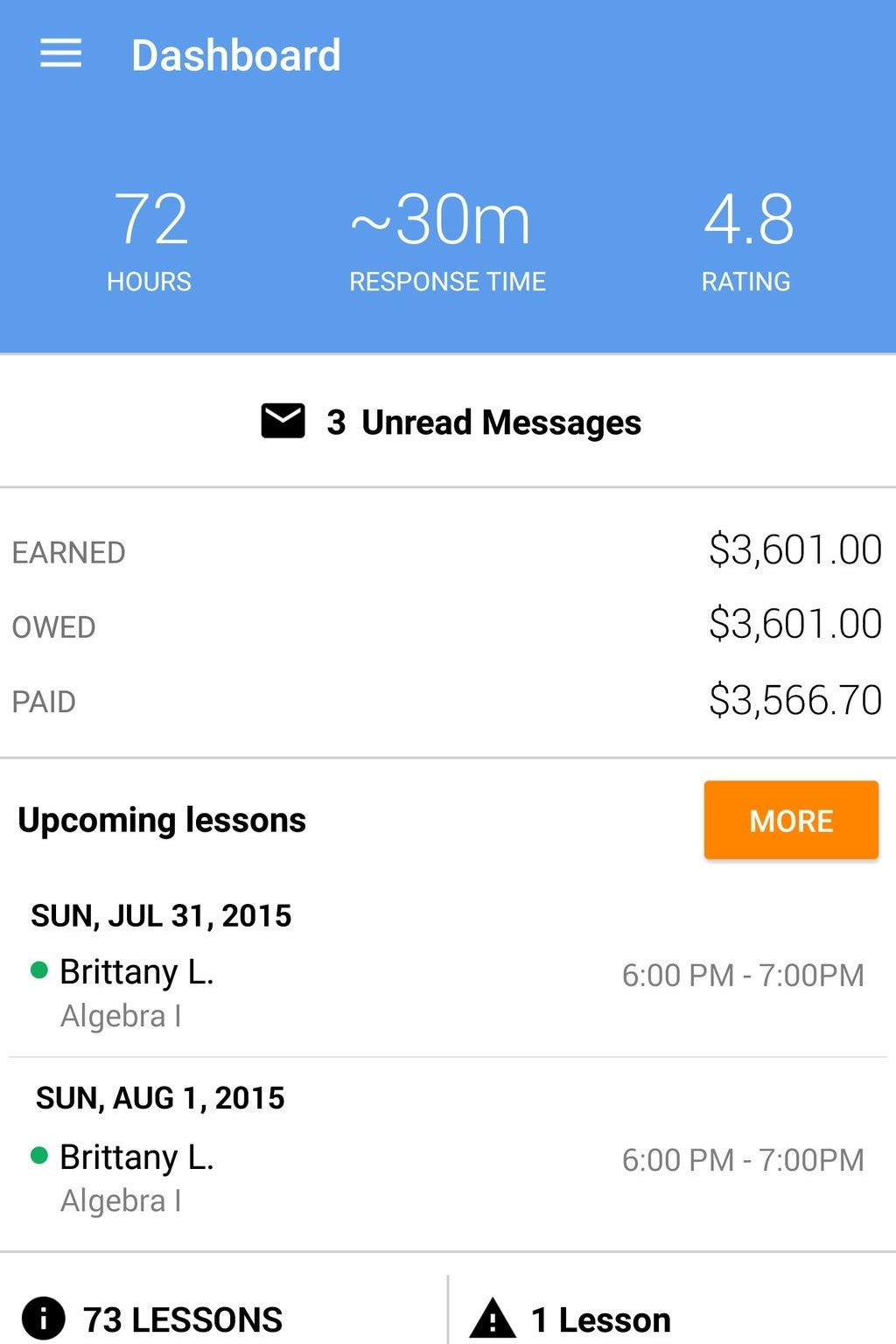 The dashboard on WyzAnt's existing app for tutors