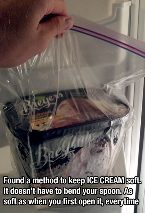 Keep ice cream soft in a sealable bag.