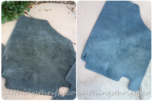 Spray your dirty floor mats with stain remover and throw them in the washing machine.