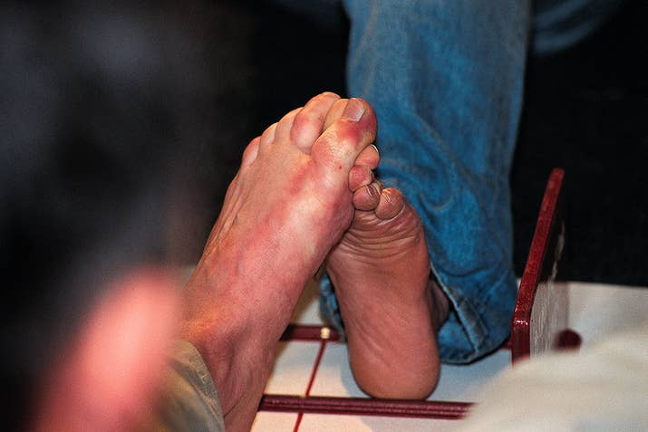 """One, two, three, four / I declare a TOE war."" Yep, such a thing exists. Venture across the pond and LITERALLY go toe-to-toe with some of the toughest feet in the world at the World Toe Wrestling Championship."