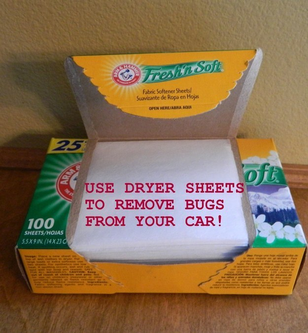 Get stubborn bugs out of your grille (and off of your bumper) with the help of dryer sheets.