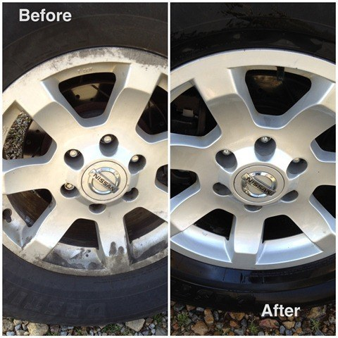 Use a cleaning powder and water to clean your wheels.
