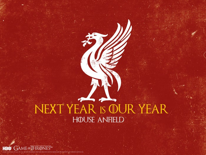 """Sigil: A Liver birdWords: """"Next year is our year.""""Enemies: House Goodison, House TraffordHistory: For decades House Anfield ruled the Seven Kingdoms with apparent ease, until Ser Alex of Ferguson led a rebellion from House Trafford. The North remembers, however, and songs of the legendary Kings Kenny, Paisley, and Shankley are still sung in the hope of a return to House Anfield's glory days."""