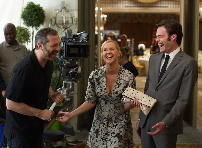 Director-producer Judd Apatow, writer-star Amy Schumer, and actor Bill Hader on the set of Trainwreck.