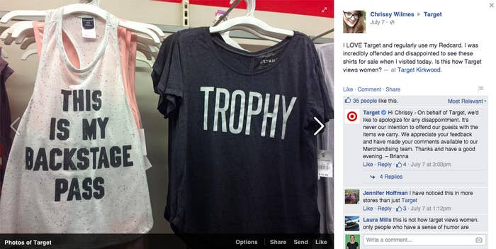 2658ba37 Photos of the shirt have been uploaded to Target's Facebook multiple times,  with strings of comments damning the merchandise.