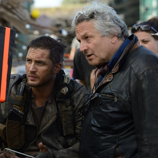 George Miller with Tom Hardy on the set of Mad Max: Fury Road.