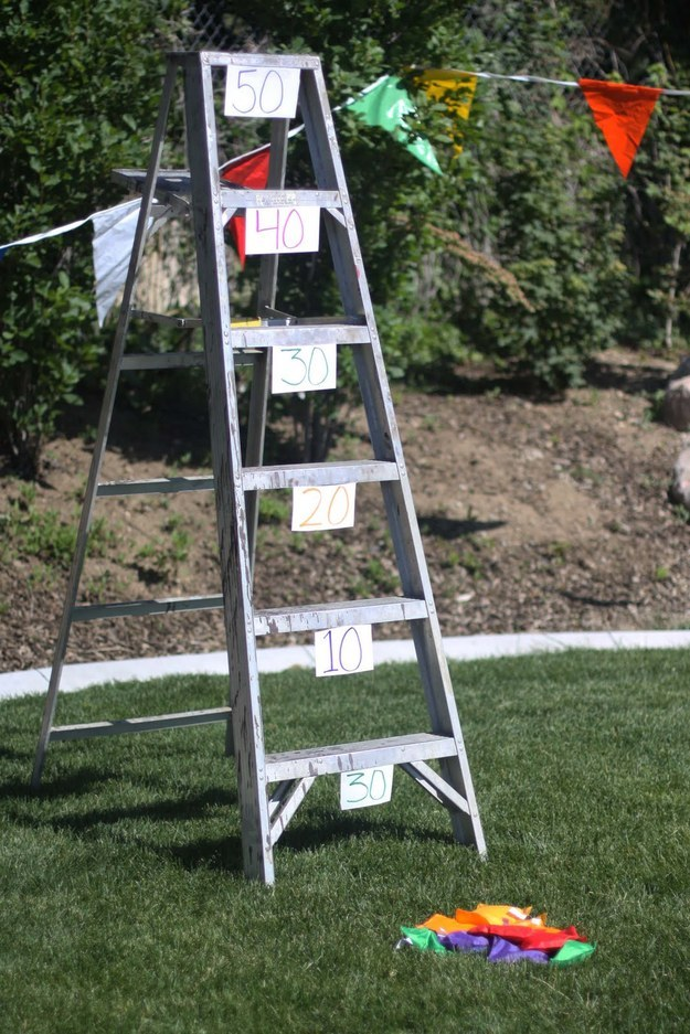 Grab a ladder from the garage and play bean bag toss.