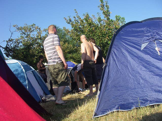 "Shouts of ""GO ON GARYYY"" echo round the campsite as these blokes just on the right side of a mid-life crisis try to convince each other that downing 12 cans of warm Carling in a field is still a good idea."