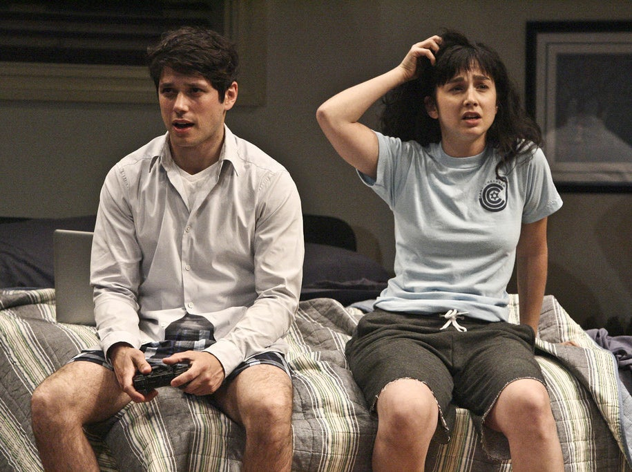 Raviv Ullman and Molly Ephraim in the Los Angeles production of Bad Jews at the Geffen Playhouse.