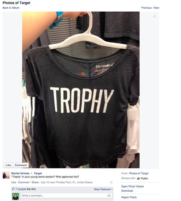 ad203084 Target USA is facing online backlash for a shirt allegedly stocked in their  teens section with the word