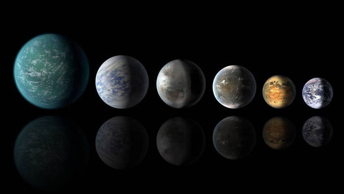 """An artist's impression of this new world is on the far left. According to NASA: """"The new discovery, Kepler-452b, fires the planet hunter's imagination because it is the most similar to the Earth-sun system found yet: a planet at the right temperature within the habitable zone, and only about one-and-a-half times the diameter of Earth, circling a star very much like our own sun."""""""