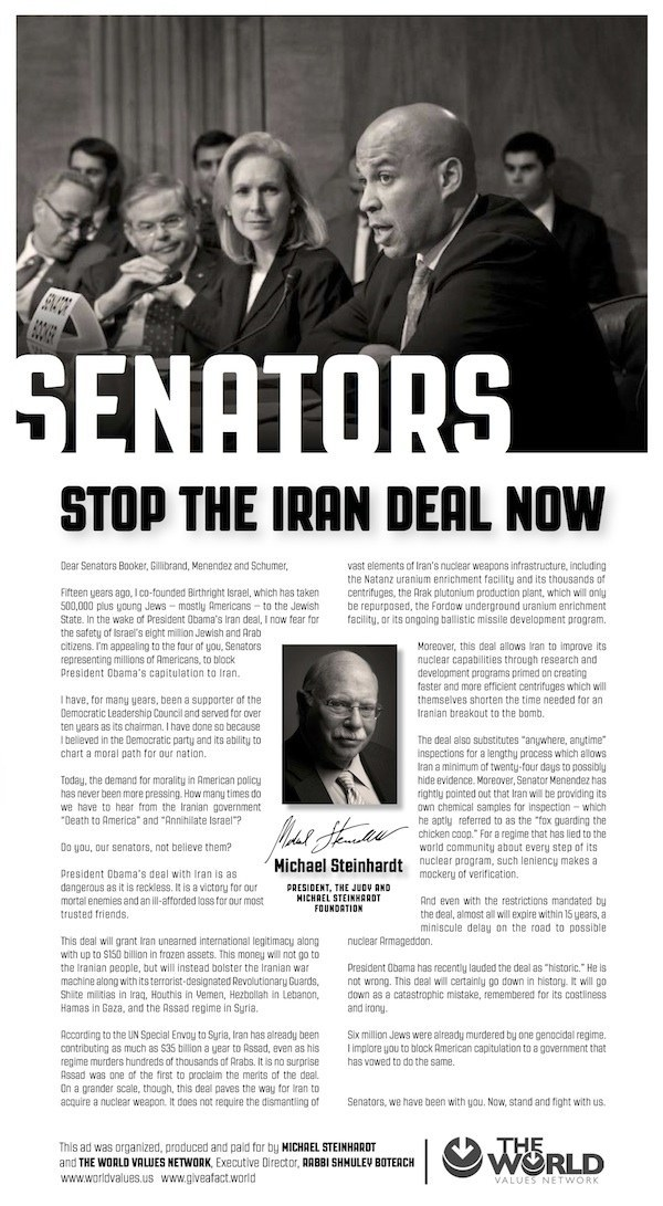Birthright Co-Founder Taking Out Full-Page New York Times Ad Against Iran Deal