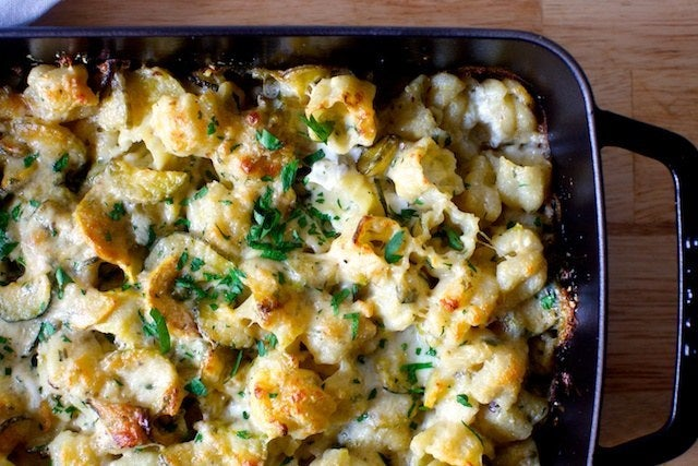 A summer-friendly version of mac and cheese. And by that I mean that it has summer vegetables inside, not that it has any less mac or cheese. Recipe here.