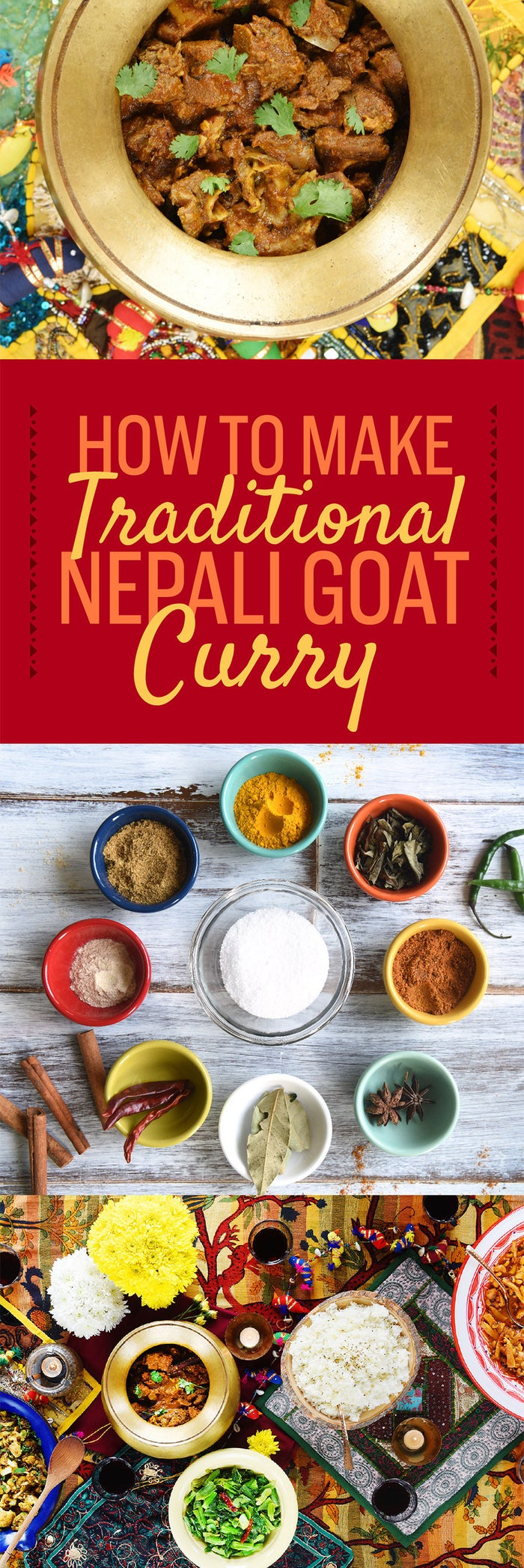 I am obsessed with goat curry. In Nepal, I would wait for my mother to serve it with a heap of rice almost every Saturday. When I would travel, nothing was more important than finding a lunch-stop serving goat curry with all-you-can-eat rice and ghee. During festivals, I would refuse to touch vegetables because, well, who wants to eat vegetables when your father has cooked a whole goat?But when I came to America for college, if I wanted Nepali food I had to cook it myself. In this essay, I chronicled how I learned to make my family's goat curry and the other dishes I grew up eating. The recipe I use to make goat curry is a time-consuming one, but as I learned the hard way, there's no such thing as a delicious easy curry. Below, in step-by-step photographs and a recipe, you'll find out how to make curry like you mean it.