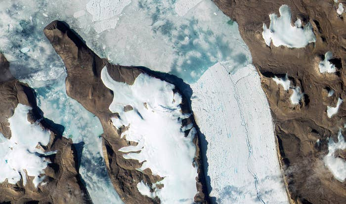 The Ryder Glacier in Greenland. This image was taken by a satellite called Sentinel-2A, launched in June and tasked with monitoring the environment – from retreating glaciers to agriculture.