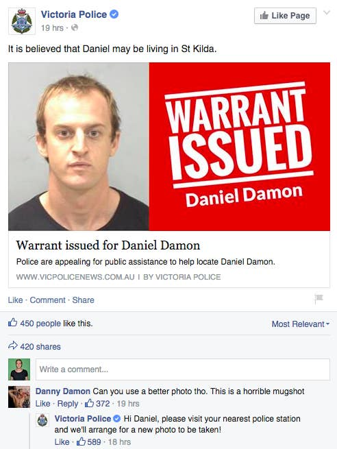 """Daniel Damon is wanted for arrest after he """"failed to answer bail for traffic and drug matters."""" It is believed he is living in St. Kilda."""
