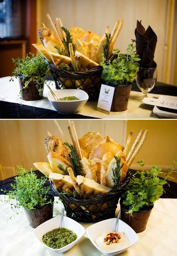 A bread basket is the perfect start to a meal, and it's extremely cost-effective. Add a couple of different types of breads for each table. McHale's Events & Catering suggests using a variety of different spreads from their hors d'oeuvres menu as well, like hummus or a creamy ranch dip. Dress it up by putting it in a special basket or dish that brings out the decor for your wedding.
