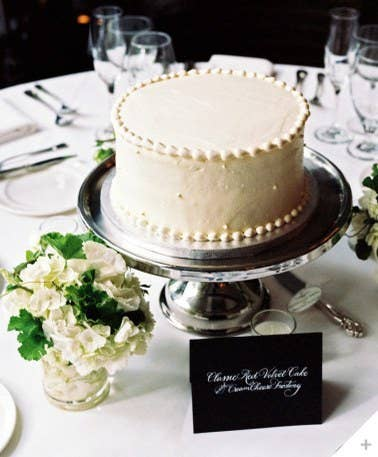 Instead of having a giant cake to cut during the reception, a small cake on each table is a smart alternative that guests will love for convenience and look. Guests won't have to stand in a long line to get cake, and each table can cut their cake after the bride cuts hers.