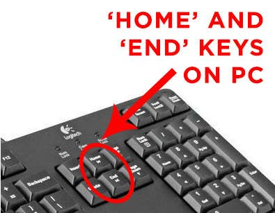 The Home and End keys come standard with most PC keyboards, but are missing on new Mac keyboards. These keys take you to the top of any page (home) or to the bottom (end). It comes in handy more than you think!