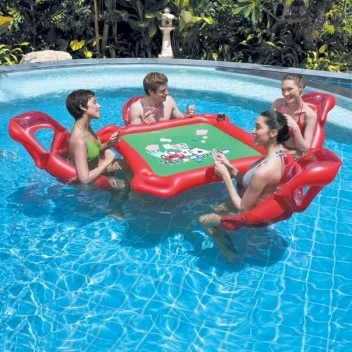 Might be hard to keep your poker face when your friend splashes you or spontaneously floats away. But do try!