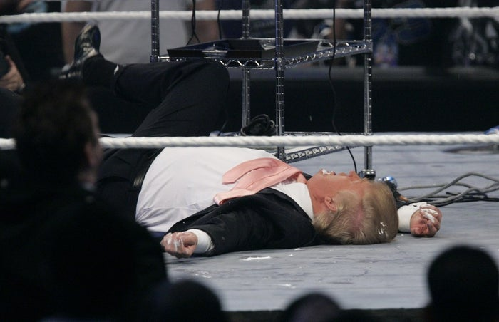 "Donald Trump on the mat after receiving a stunner from ""Stone Cold"" Steve Austin at Wrestlemania 23 in 2007."