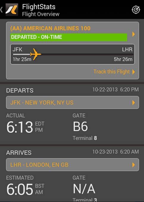 Wenn Du unterwegs wissen möchtest, ob Dein Flugzeug pünktlich ist, ob es Komplikationen gibt oder ob sich das Terminal kurzfristig geändert hat, ist Flighstats die richtige App für Dich.