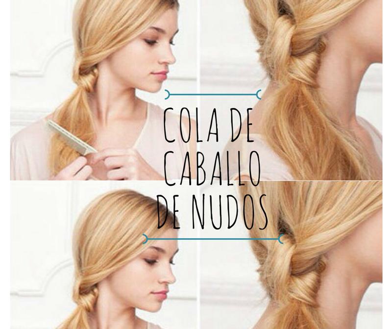Cepilla tu pelo y divídelo en dos secciones. Amarra ambas secciones cuantas veces quieras (idealmente dos o tres) y amarra con una liga transparente justo debajo del último nudo. Cepilla el resto para darle un estilo desenfadado.