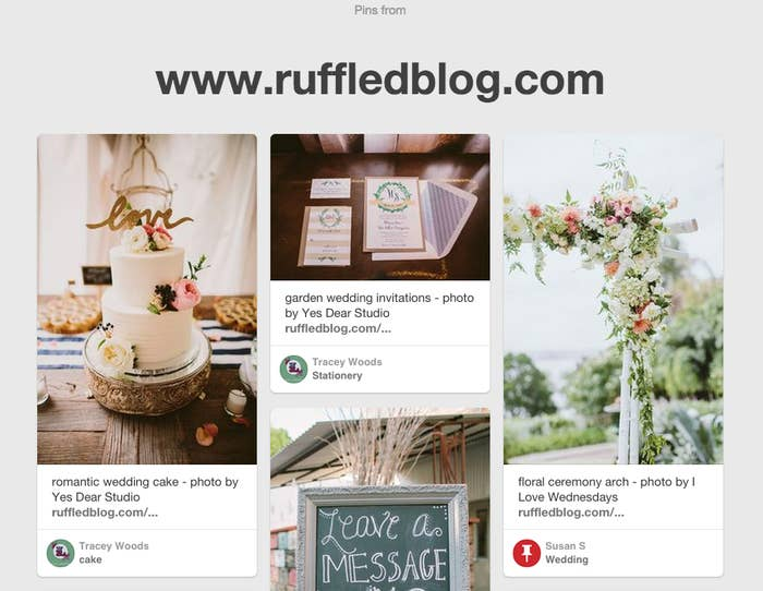 Want to know what other pinners are saving from your go-to wedding, food, or style blogs? Put this URL into your browser: www.pinterest.com/source/www.[yourfavesite].comIf you have your own blog or business, this is also a great way to see what people are pinning and attracted to!