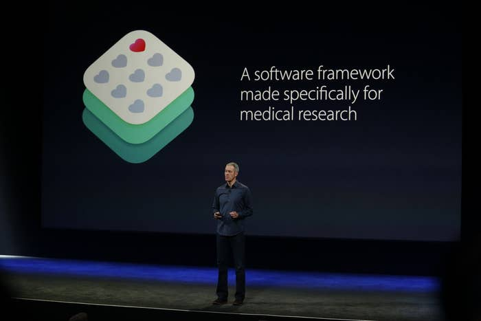 Apple Senior Vice President of Operations Jeff Williams announces ResearchKit on stage during an Apple special event at San Francisco's Yerba Buena Center for the Arts on March 9, 2015.