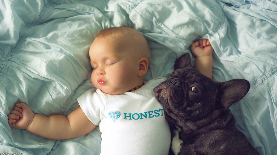This Baby And Puppy Born On The Same Day Are Basically Brothers
