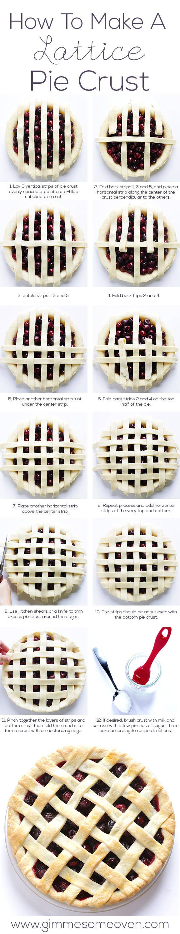 Look like a professional with this step-by-step lattice pie crust graphic.