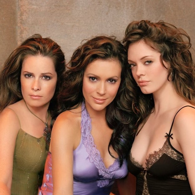 From left to right: Holly Marie Combs, Alyssa Milano, and McGowan in Charmed.