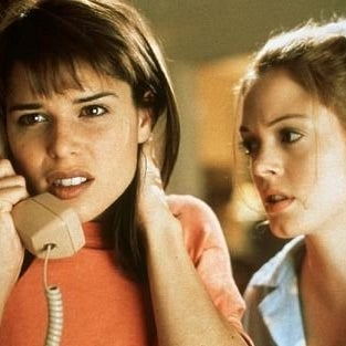 With Neve Campbell in Scream.