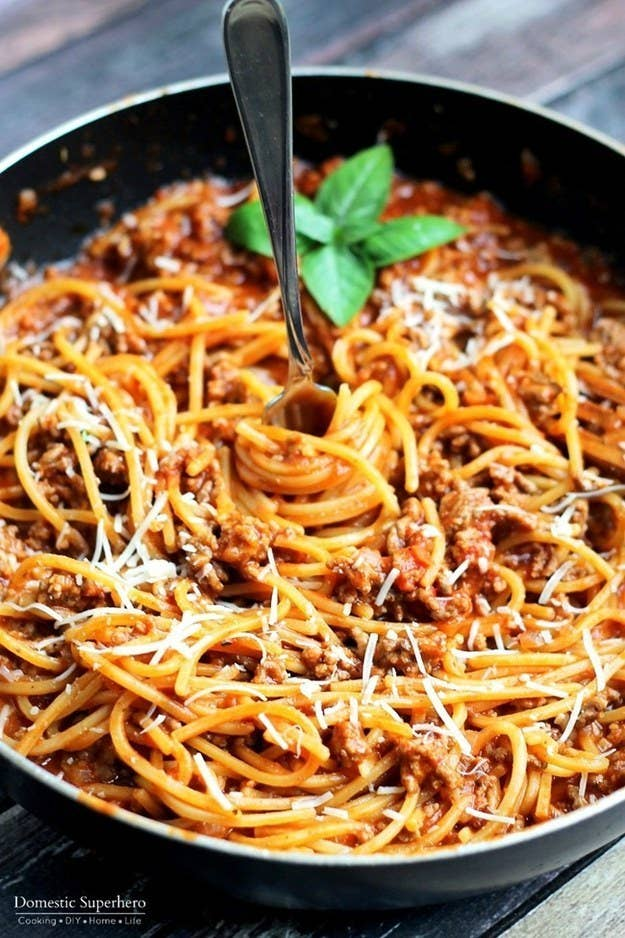 The pasta cooks right in the pot with the sauce, so this One Pot Spaghetti With Meat Sauce is extra easy to make after a lousy day. Get the recipe here.
