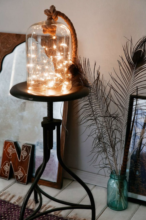 Put A Battery Powered Strand In A Bell Jar For An Artsy DIY Light.