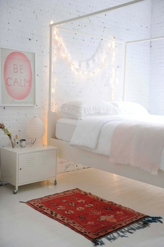 You can also toss a strand over the back rungs of your bed frame for easy, instant mood lighting.