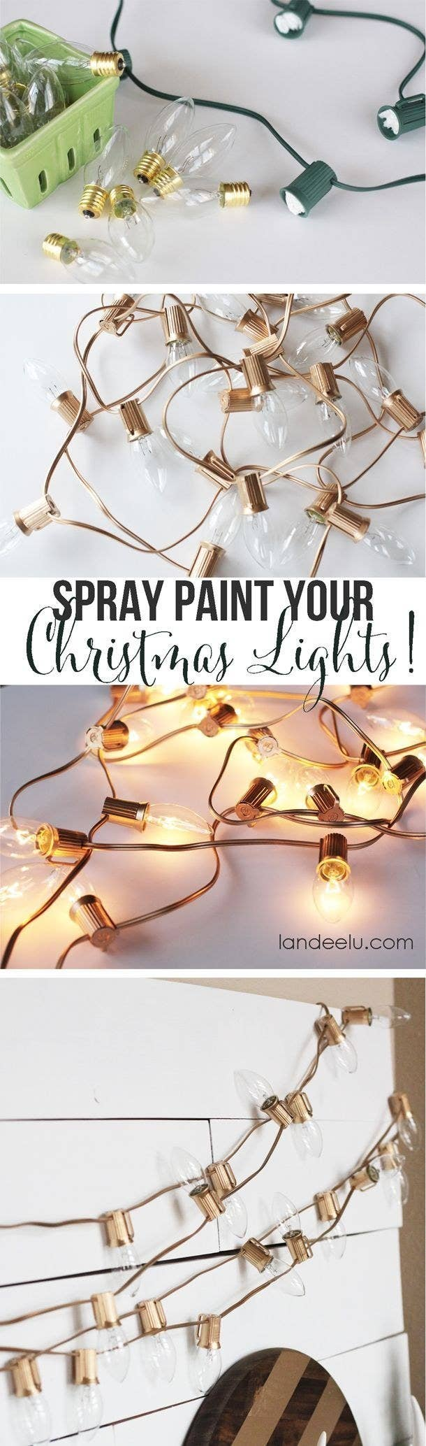 19 Super Cozy Ways To Use String Lights In Your Home Wire Led Christmas Light Wiring Diagram On 4 Xmas An Spray Paint Green Holiday Bulbs Gold Get A Polished Look
