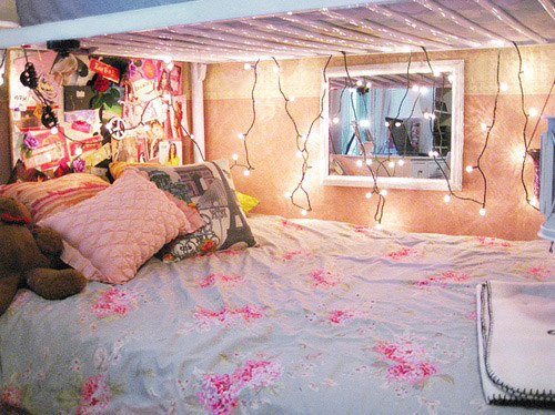 And if you got the bottom bunk in your dorm, drape string lights from the top to make it extra cozy.
