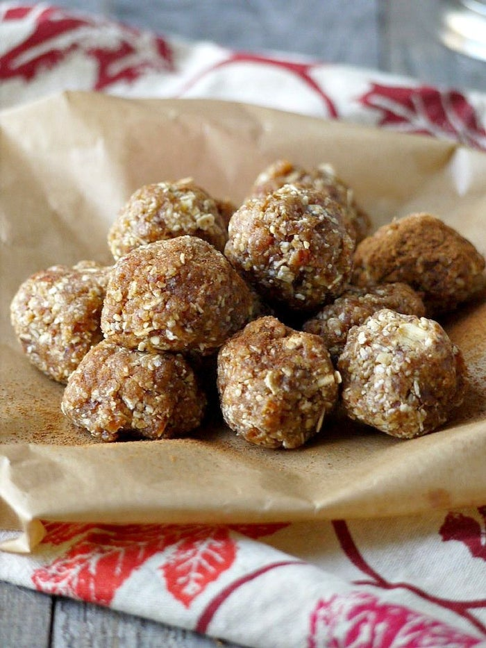 These dense little balls are a little sweet and come with delicious healthy fat and protein thanks to the almond butter.Get the recipe here.
