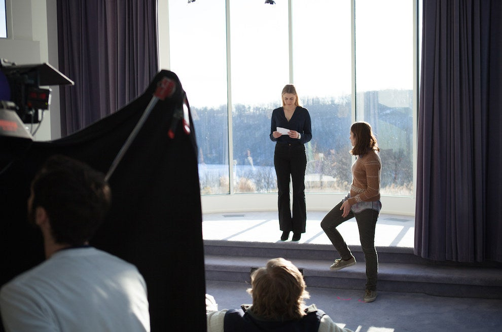 Gerwig and Kirke on set for a different part of that scene.