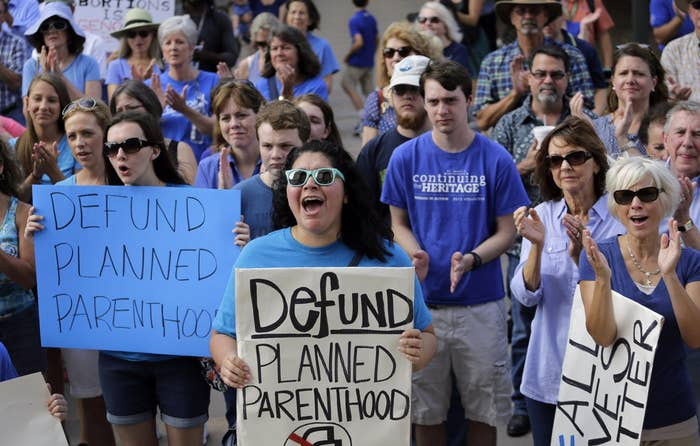 Anti-abortion activists rally on the steps of the Texas Capitol on July 28.