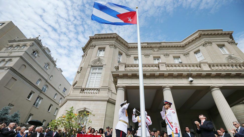 the restoration of diplomatic ties between cuba and us Cuban flag raised in washington, dc, marking historic restoration era between the united states and cuba and formally re-establishes diplomatic ties.