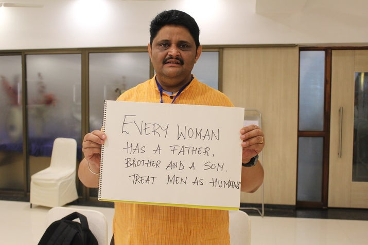 'Every woman has a father, brother, and a son. Treat men as humans.'