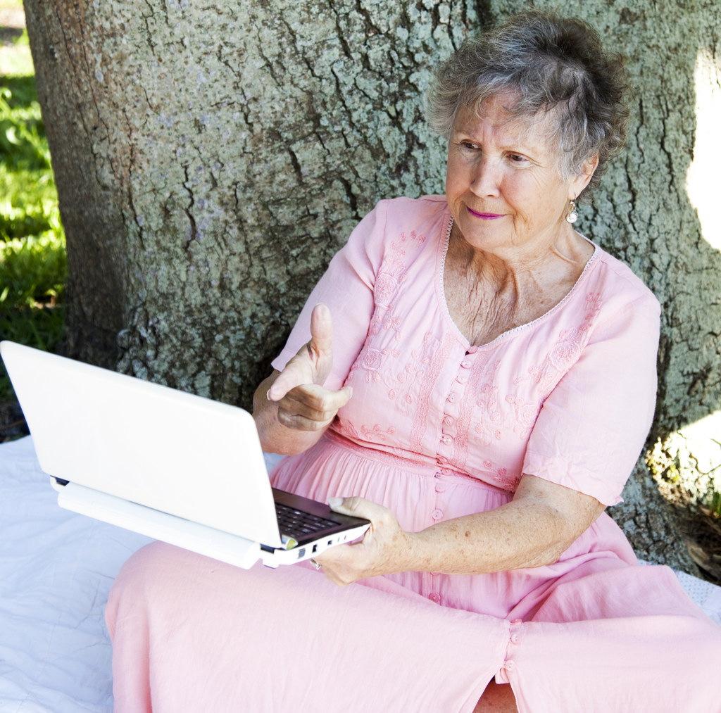 old lady shooting the computer screen