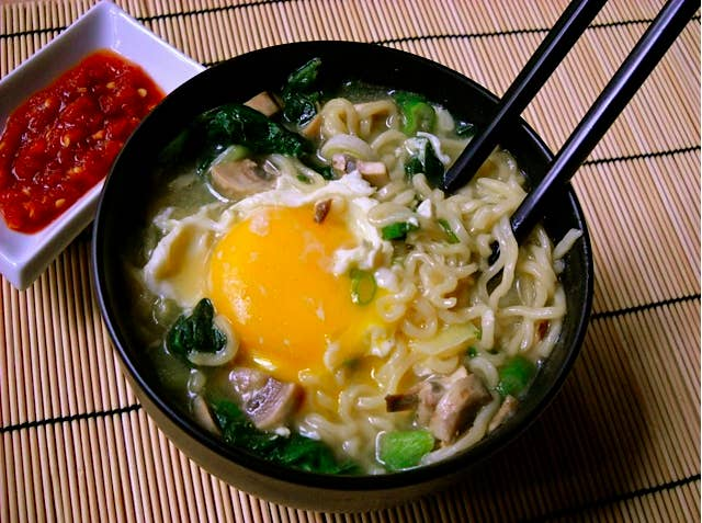 Learn how to cook ramen noodles without a stovetop here, then just add veggies, drop an egg into the hot broth, and let it poach. (Or, even easier? Crack an egg, break the yolk, and slowly stir – you'll get instant egg ribbons, like in egg drop soup.) Full recipe here.