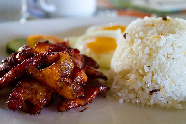 What it is: Sweetened pork (tocino), egg, and fried rice.Why it's awesome: Tocino is the Filipino counterpart to bacon. Which means you can have it morning, noon, and night. Recipe here.